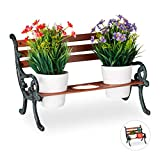 Relaxdays Mini Blumenbank, Gusseisen & Holz, Blumenständer...