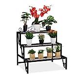 Relaxdays Blumentreppe Metall, 3 Stufen, Outdoor und Indoor,...